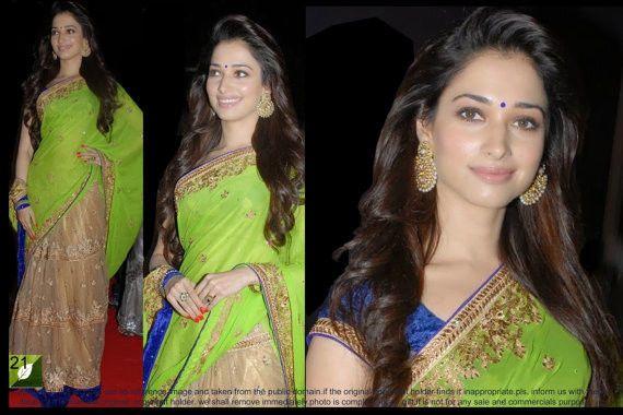 Indian Saree Sari Bollywood Saree Designer Chiffon Net Tamanna Parrot Green Sari #Indian #BollywoodSaree