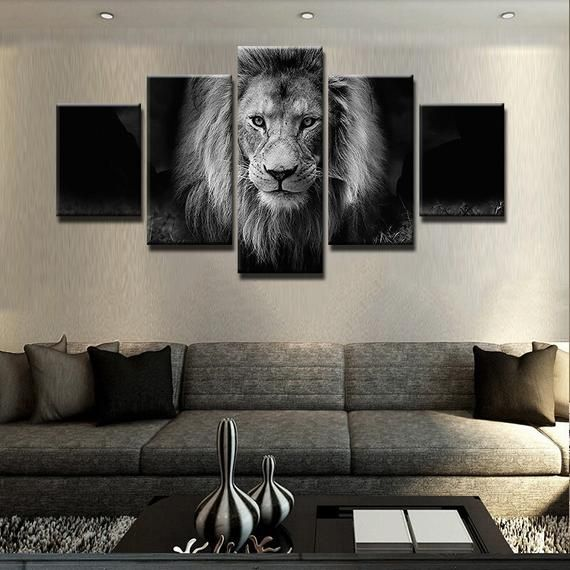 5 Panels Lion Animal Wild Black And White Beautiful Modern Abstract Wall Art Home Decor Painting Lion Wall Art Living Room Canvas Prints Canvas Art Wall Decor