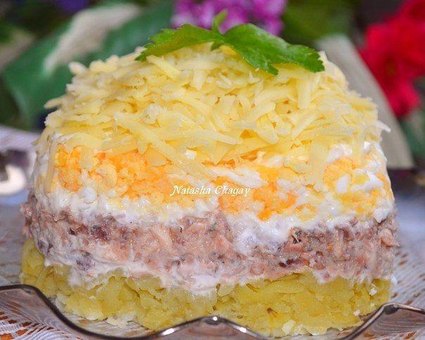 Салат с консервированной рыбкой. В предверии Нового года . Сборник салатов и закусок