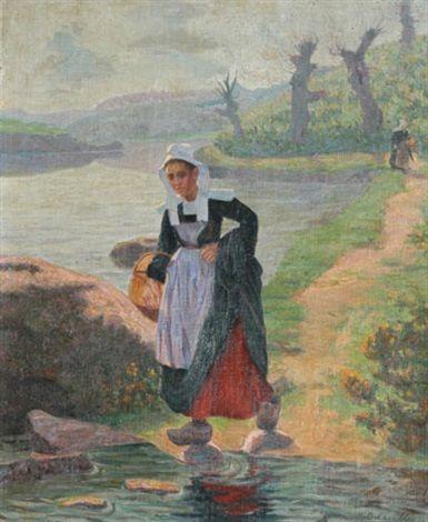 """Henri Delavallée 1862-1943 """" Bretonne au bord de l'Aven """""""