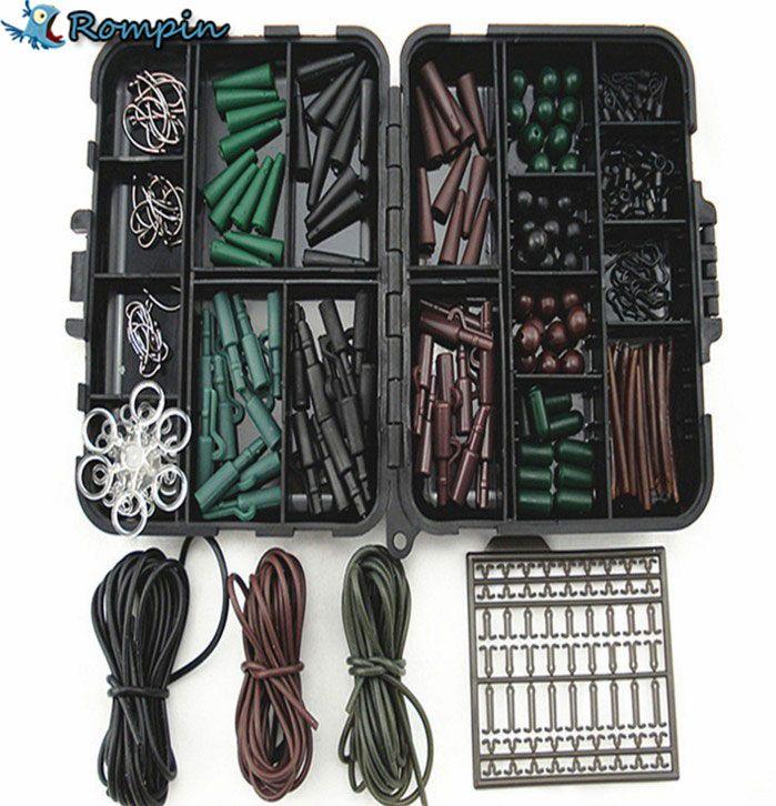 Rompin盛り合わせ鯉釣りアクセサリータックルボックス用ヘアリグコンボボックスでフック、ゴム、スイベル、ビーズ、袖、ストッパー