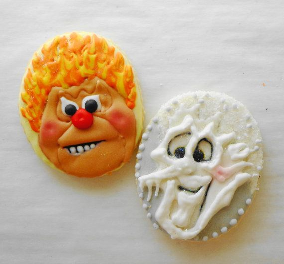 Heat Miser & Snow Miser Cookies by CookieDoodler on Etsy