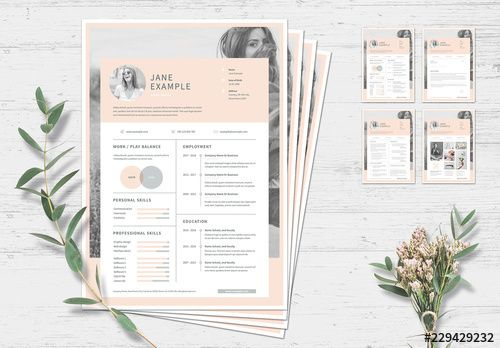 Stock Template Of Resume And Cover Letter Layout With Pale Pink Accents Search More Similar Templates At Adobe Stock Cover Letter Layout Lettering Resume Cv