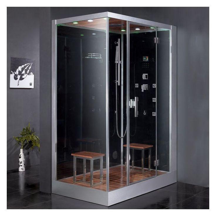 """Ariel DZ961F8-R Platinum 89"""" Steam Shower Enclosure with Shower System on Right Black Steam Showers Steamroom Enclosures Shower System"""