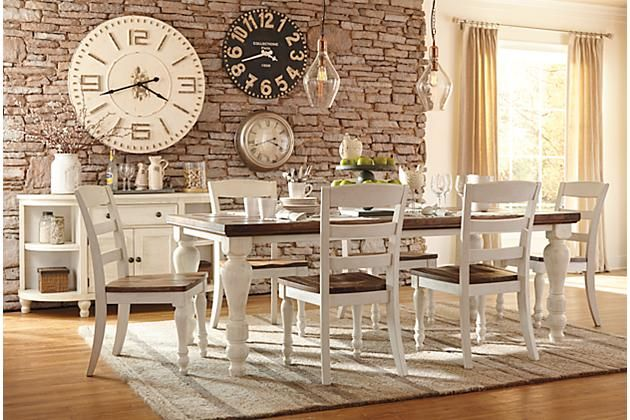 Farmhouse Table Two Tone Marsilona Dining Room Table View 1 Ashley Furnitu