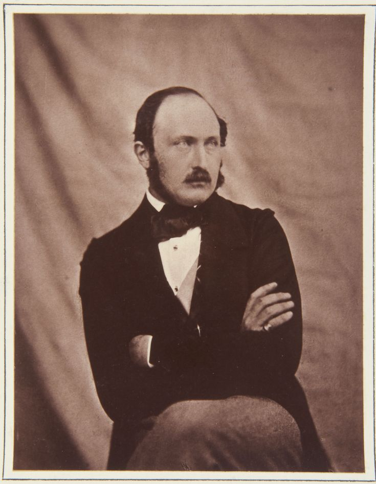 Photograph of Prince Albert seated, facing three-quarters left with his arms folded. He wears a dark jacket and tie. Half length portrait.