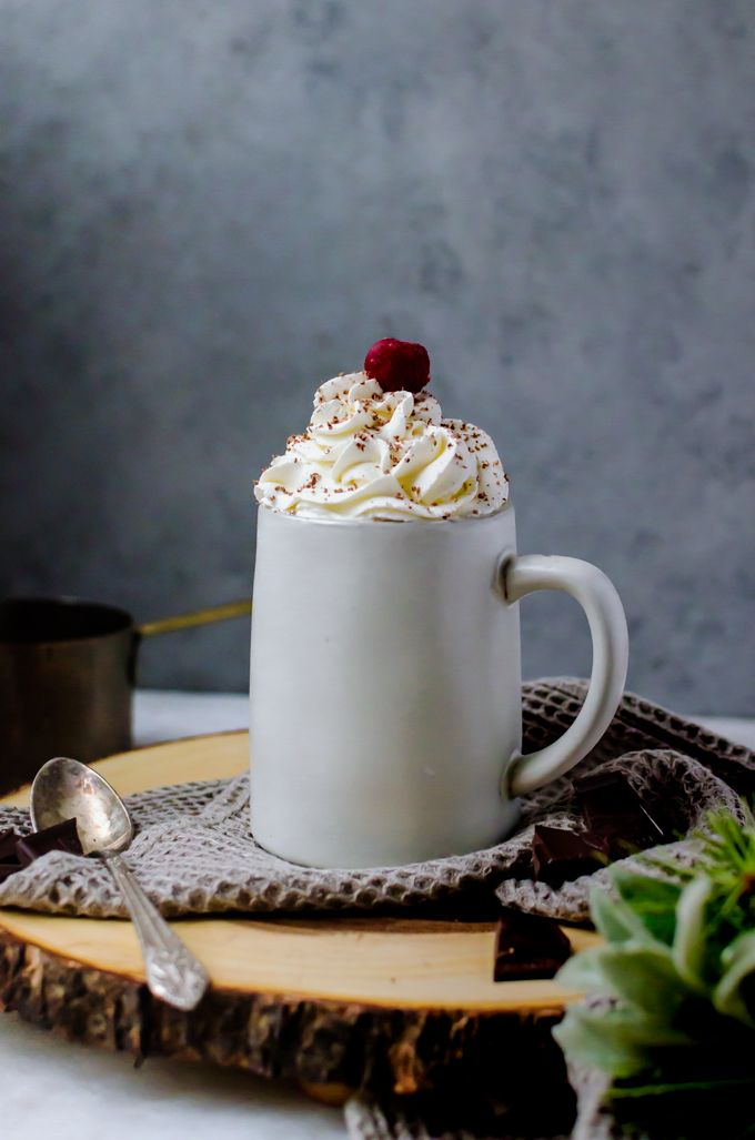 A black forest hot chocolate you will go crazy for. Nothing goes better with a night in than tart cherries, dark chocolate, and airy whipped cream.
