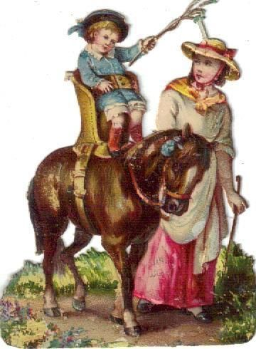Victorian Die Cut Scrap Baby in  Car Seat  Rides Horse c1880
