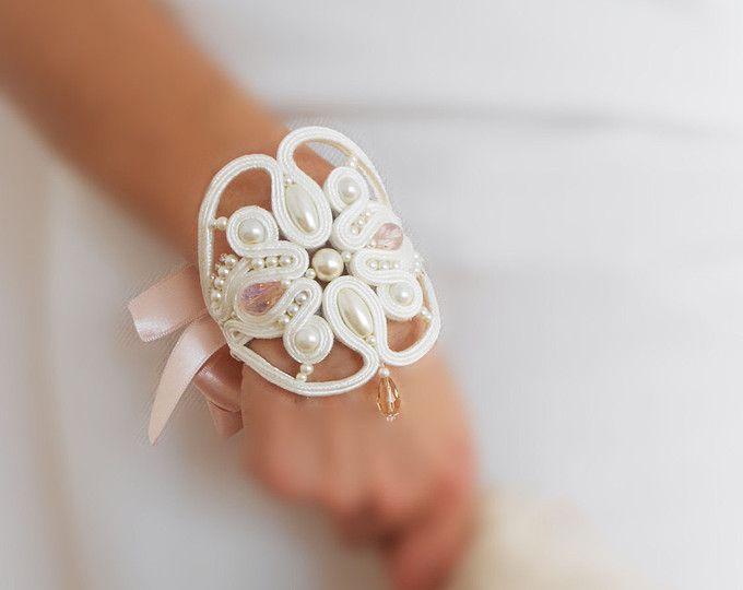OOAK soutache bridal set favorite gift for her best selling jewelry fiber art jewelry cream bracelet cream earrings fairytail bridal jewelry