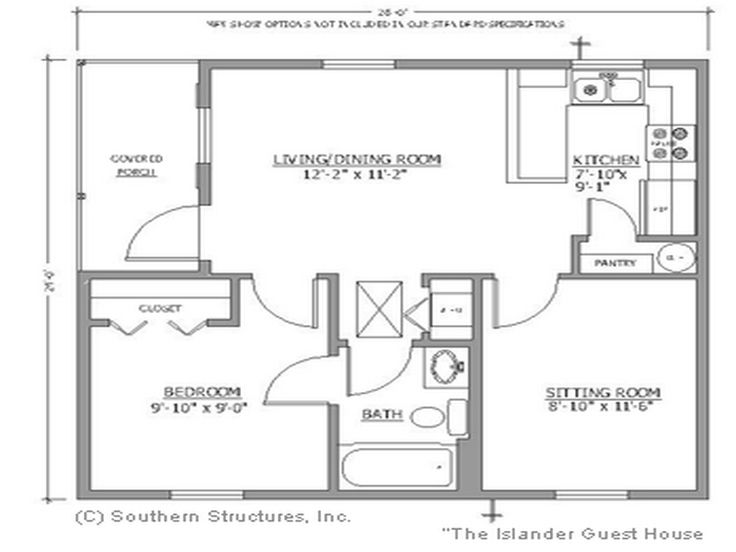 Floor plans for small houses the bath small house for Large tiny house plans