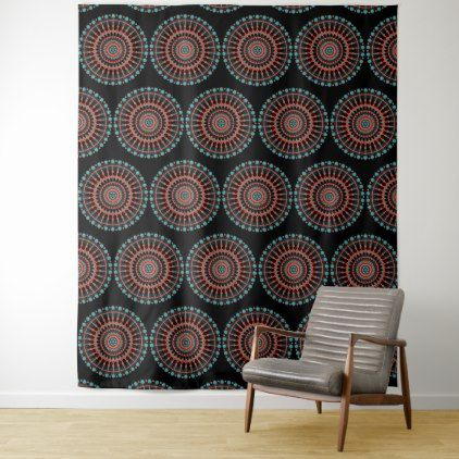 Black Red Turquoise Mandalas Wall Art Tapestry - black and white gifts unique special b&w style