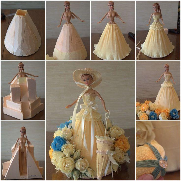 DIY Barbie Chocolate Bouquet dress