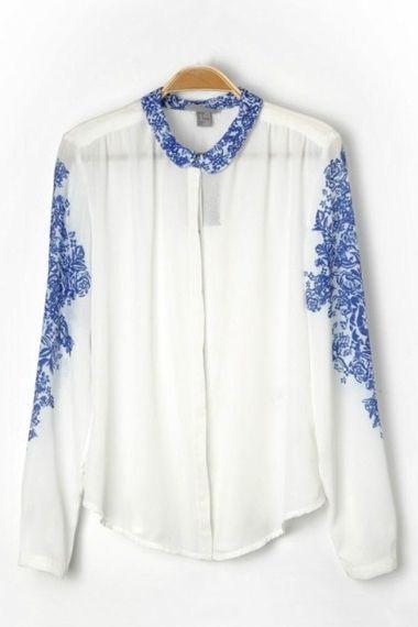 Lapel Long Sleeves Blue and White Porcelain Print Blouse