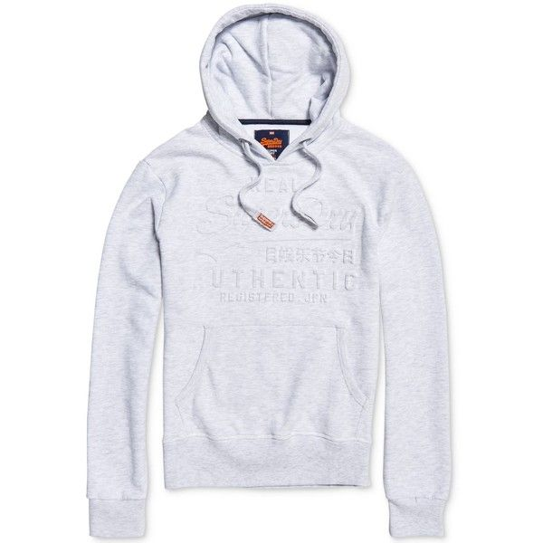 Superdry Men's Embossed Vintage Logo Hoodie ($60) ❤ liked on Polyvore featuring men's fashion, men's clothing, men's hoodies, ice marl, mens hoodie, superdry mens hoodies, mens hooded sweatshirts, mens hoodies and mens sweatshirts and hoodies