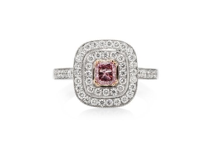 Argyle Pink Radiant Ring set in double halo.