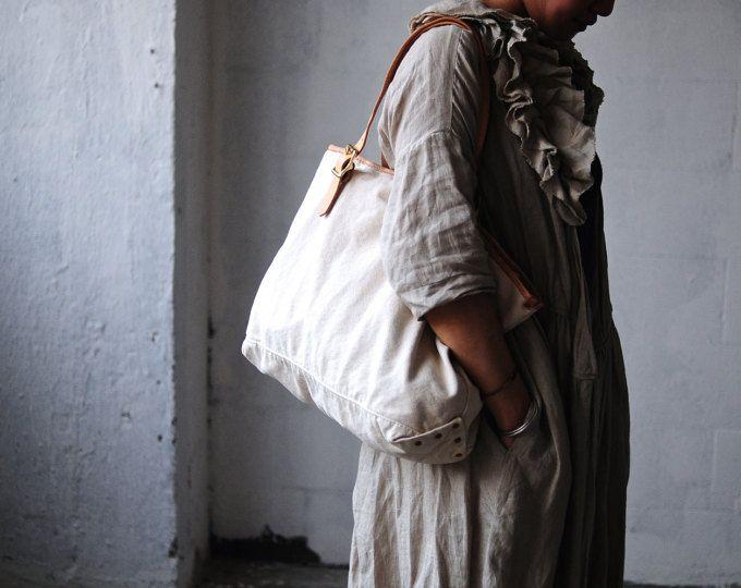 Artemis lederwaren handgemaakte uitgewassen leder en doek Tote tas / schouder tas / zak reizen