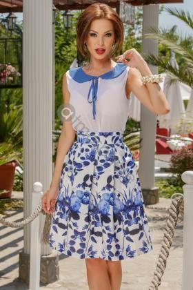 Fusta midi din tercot cu imprimeu floral albastru Fs 670 - imaginea 1
