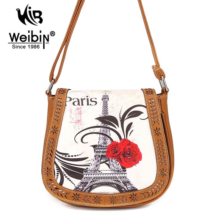 Openwork PU Women crossbody Messenger bag for women Eiffel Tower In Paris  Printing Mini Small Round 0e8104949b983