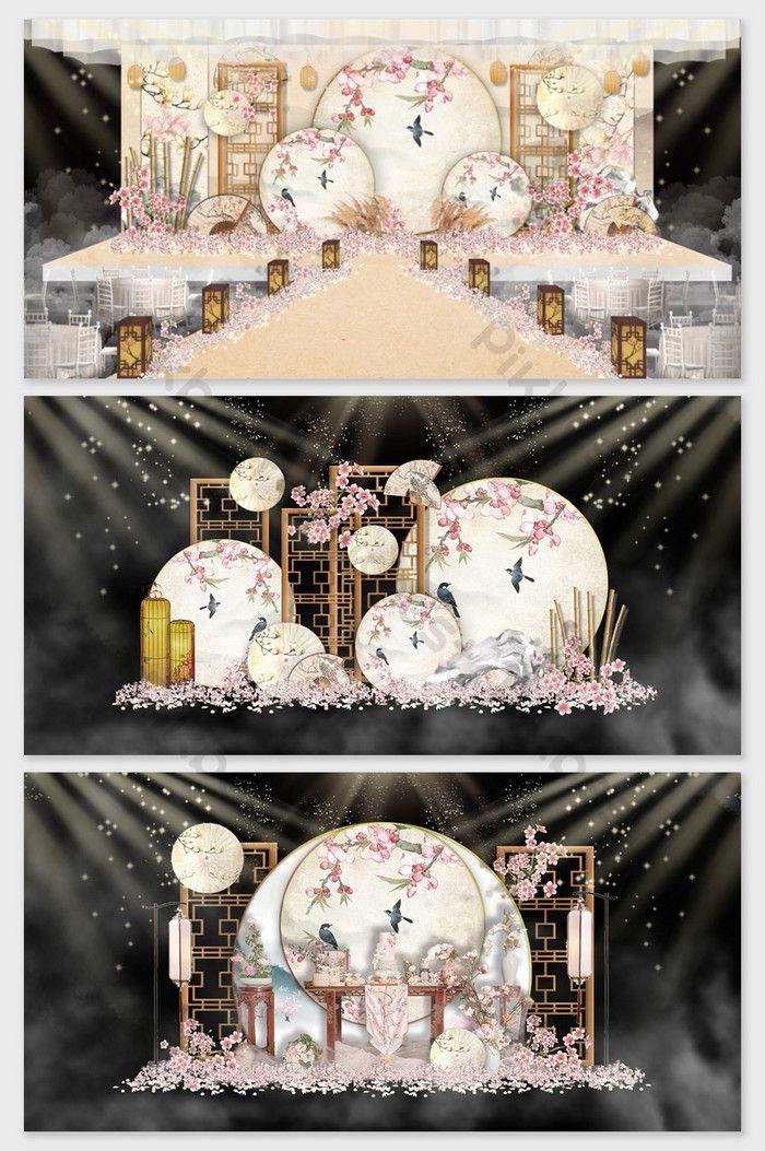 新しい中国の花と鳥の風景レトロな中国風の結婚式の効果マップ 2020 ウェディングステージ 中国の花 舞台装飾
