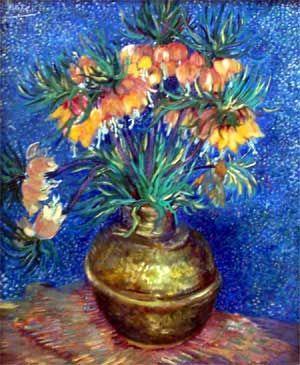 """""""Fritillaires couronne impériale dans un vase de cuivre"""" de Vincent VAN GOGH 1887"""