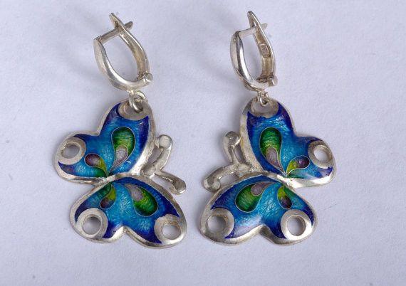 Pendenti corti - Orecchii farfalla in argento - un prodotto unico di Le-gemme-di-Hemet su DaWanda