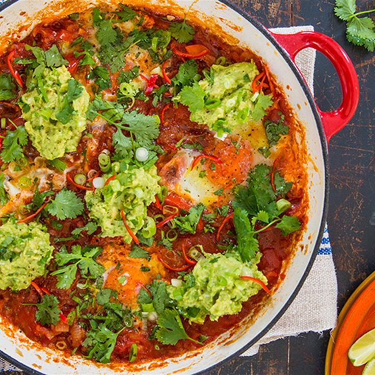 Try this Huevos Rancheros with Guacamole recipe by Chef Jasmine and Melissa Hemsley . This recipe is from the show Hemsley   Hemsley - Healthy