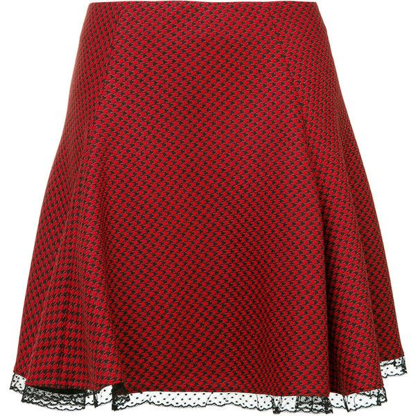 Red Valentino lace hem skirt (€465) ❤ liked on Polyvore featuring skirts, black, red valentino skirt, knee length lace skirt, red valentino, lacy skirt and lace skirt