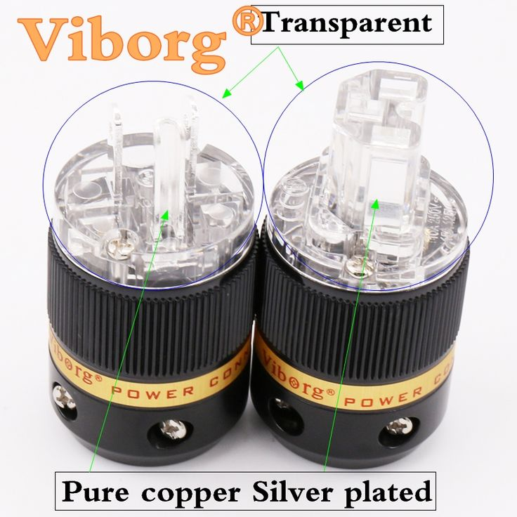 11.40$  Buy here - http://aliuii.shopchina.info/1/go.php?t=32814379274 - ViborgX1 pair Hifi audio extension adapter  pure copper silver  plated Transparent   US version  AC power  plug  connector   #SHOPPING