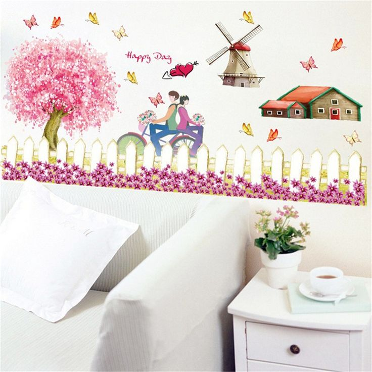 1Pcs Windmills Fences Diy Vinyl Wall Stickers For Kids Rooms Wall Decor Living Room Bedroom Background Muurstickers Wallpaper #Affiliate