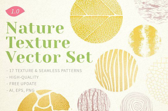 Nature Texture Vector Set by Perfect Design on @creativemarket
