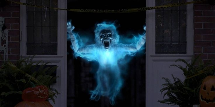Digital window projections for Halloween decor.