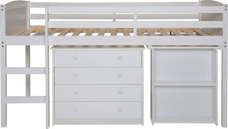 Kelsey Mid Sleeper Bed Frame With Desk - White.