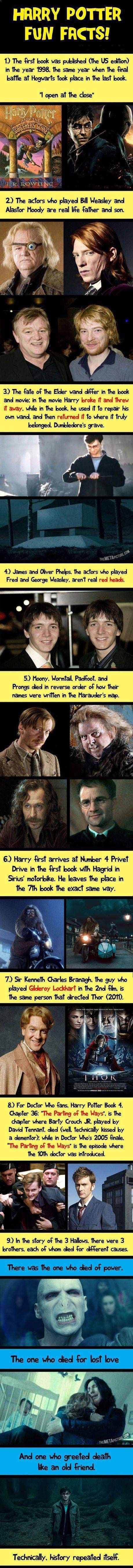 10 Astonishing Facts About Harry Potter I don't rally care about #8 (I can't stand dr. who) but the rest are pretty cool.
