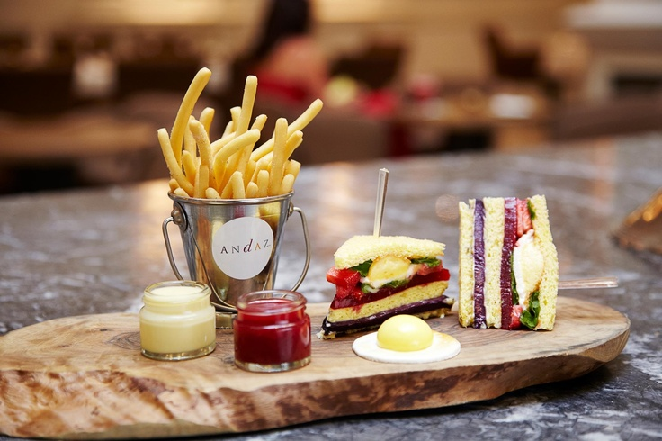 Dessert Club sandwich (Summer) Citrus sponge 'bread' Lemon marshmallow 'fried egg' doughnut 'fries' raspberry 'ketchup' White chocolate 'mayonnaise'  Blueberry and Prosecco curd Raspberry jelly Fresh strawberries and mint