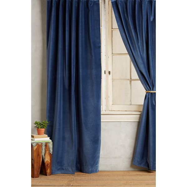 Anthropologie Washed Velvet Curtain ($268) ❤ liked on Polyvore featuring home, home decor, window treatments, curtains, navy, anthropologie home decor, navy home decor, navy blue velvet curtains, navy blue home decor and velvet window treatments