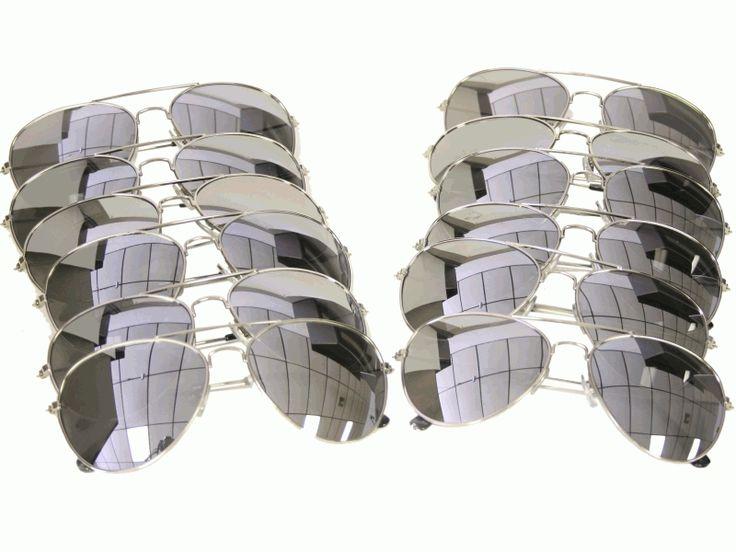 Wholesale Aviator Sunglasses Glasses Silver Mirror Lens