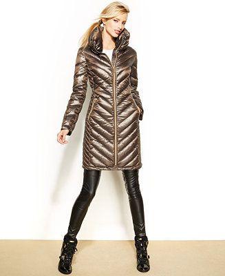 MICHAEL Michael Kors Chevron-Quilted Packable Puffer Coat - Coats - Women - Macy's