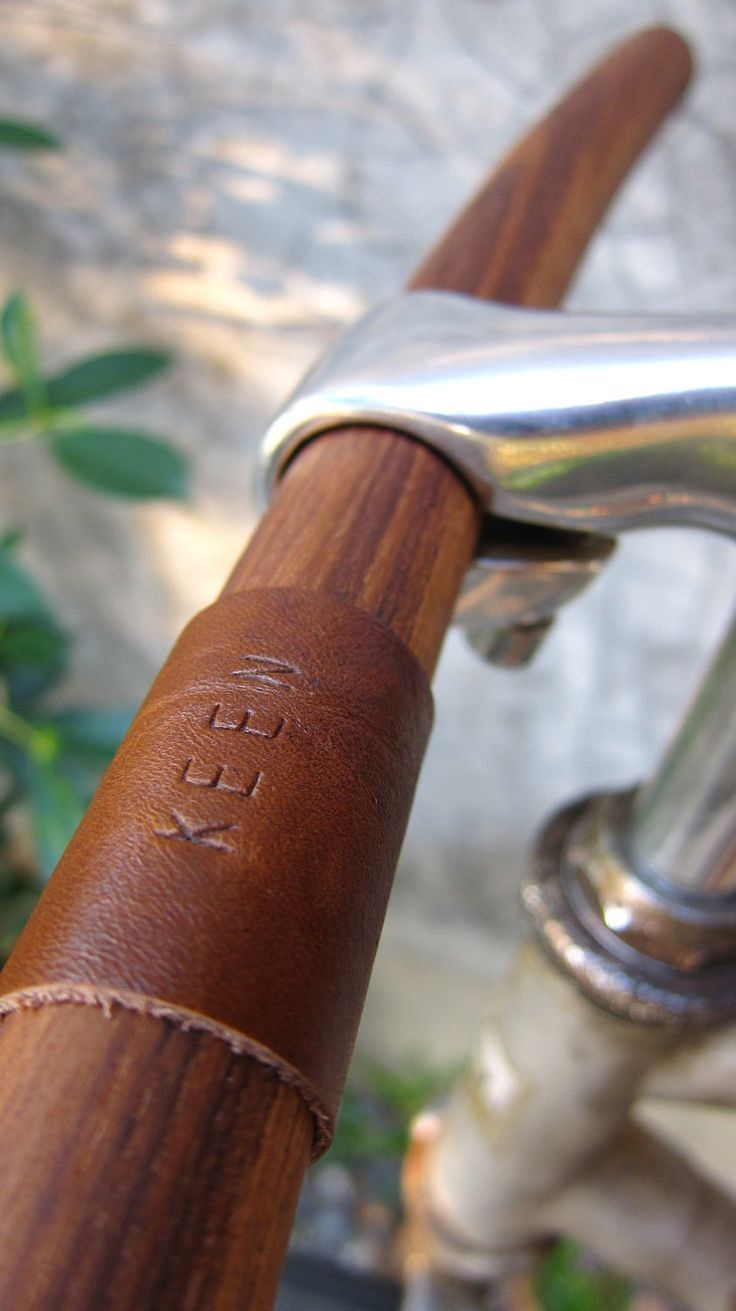 "bicycle handlebar -round tip at both ends- leather monogram of ""your name""-solid TEAK wood-genuine leather"