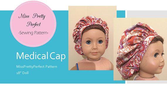 "Scrubs Medical Cap, Surgical Hat, Nurse Hat, Bonnet for American Girl 18"" Doll by MissPrettyPerfect"