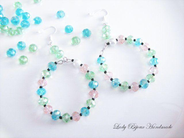 Orecchini lunghi con cerchi in cristallo sfaccettato verde, azzurro e rosa, by Lady Bijoux Handmade, 10,00 € su misshobby.com