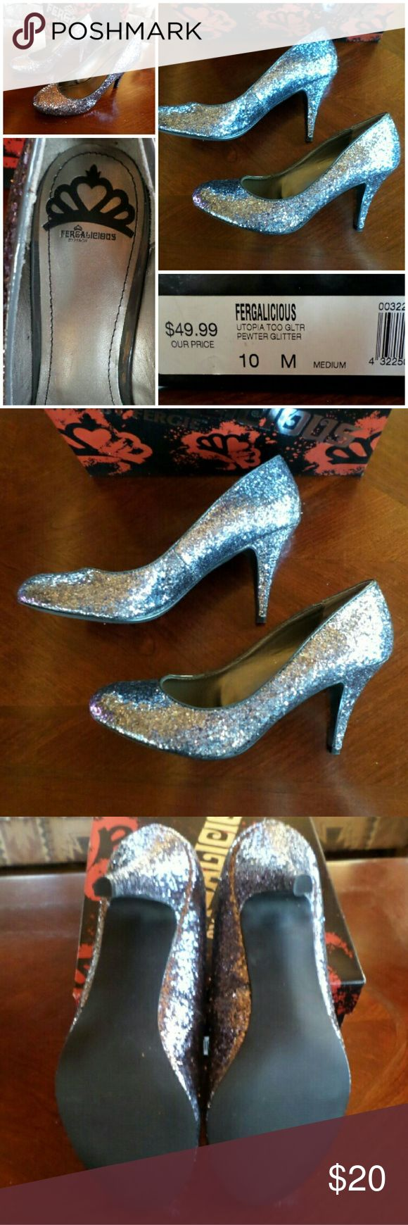"Silver Fergie Glitter Pumps I bought these four or five years ago and never wore them. Box shows some age and some glitter has fallen off in the box, but overall these are really nice shoes.   Perfect for holiday parties!   Heel is 3.5""  Price is firm. Fergalicious Shoes Heels"