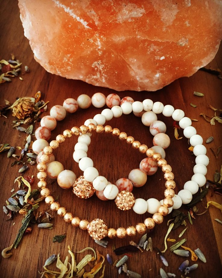 Graded Marble, Magnesite and Rose Gold Stardust beads in this  triple #StackAttack