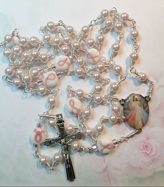 Divine Mercy Breast Cancer Hand Wrapped Rosary Beads, Breast Cancer Rosary, Divine Mercy, Hand Wrapped Beads, Catholic, Prayer Beads by LivAriaDesigns on Etsy