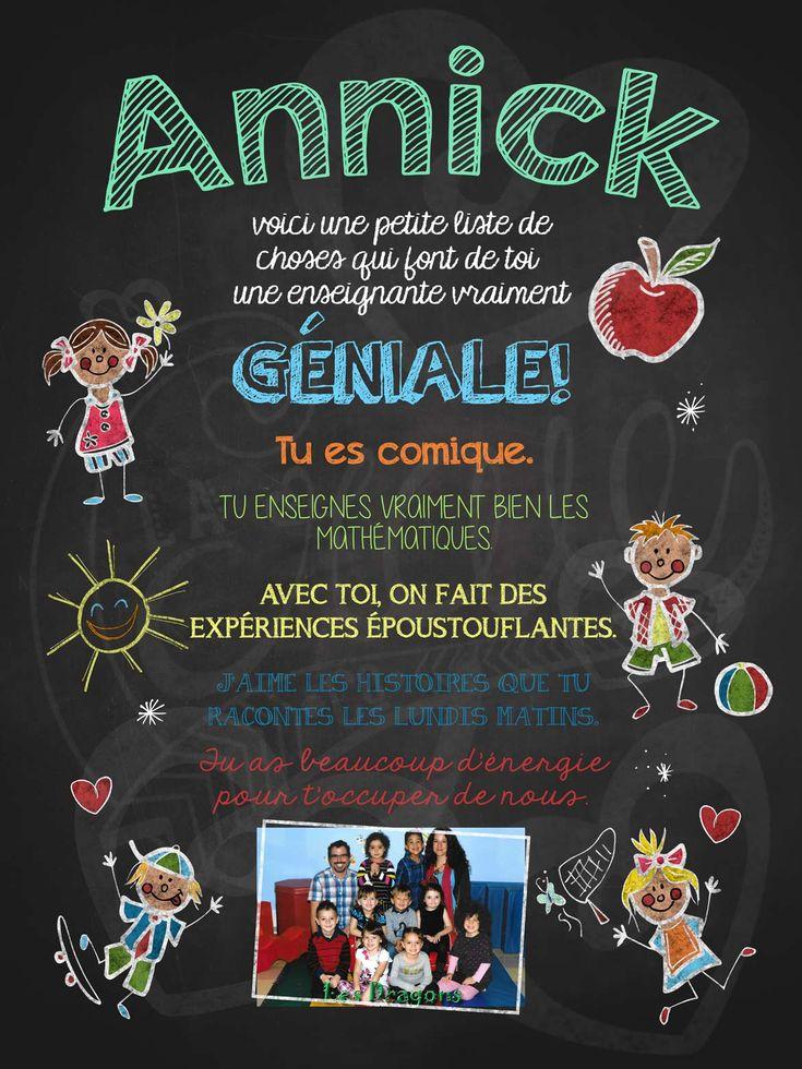 Affiche personnalisée Enseignante géniale! avec photo | 17,00$ #lacraieco #chalkboard #cadeau #professeur