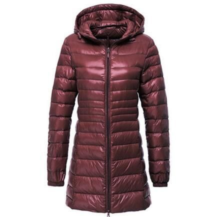 2018 Winter 6 Plus Size Long Jacket Women Ultra Light Hoodie Parka Coat Padded Jackets Casual Clothes RZF1334 Burgundy 4XL 2