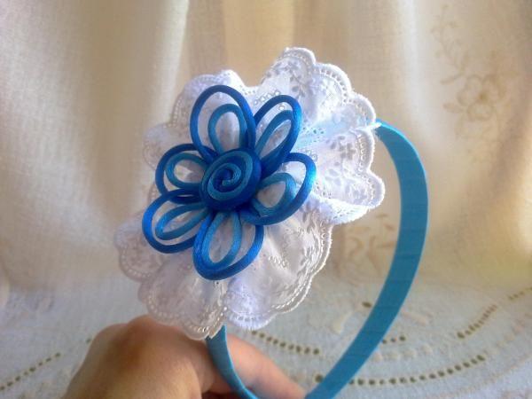 Diadema boda, bautizo o comunión diadema flor de cola de ratón y tira bordada  - artesanum com