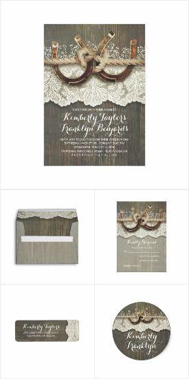 Lace and Horseshoes Rustic Barn Wedding Invitation Set