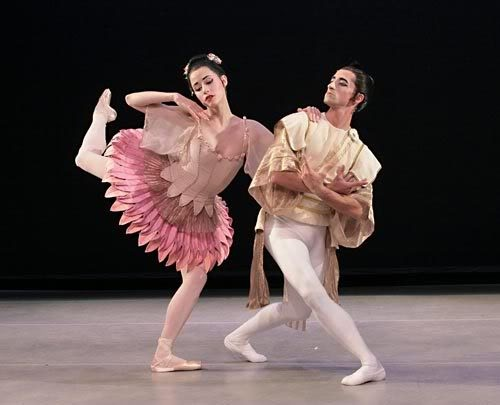 Natalia Magnicaballi and Jared Redick in Bugaku, by the Suzanne Farrell Ballet Co.
