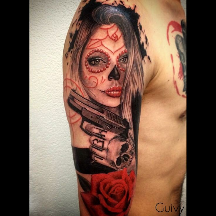 tattoo by guivy catrina makeup santamuerte dayofthedead catrinatattoo sigsauer gun. Black Bedroom Furniture Sets. Home Design Ideas
