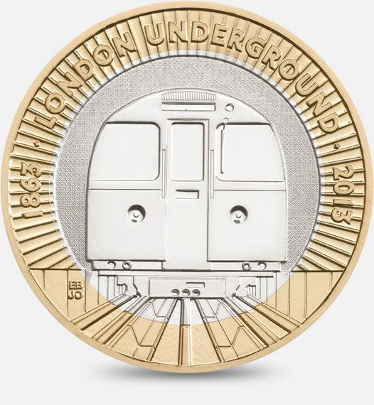 London Underground 150th Anniversary - The Train. 2013  http://www.royalmint.com/discover/uk-coins/coin-design-and-specifications/two-pound-coin/2013-underground-train